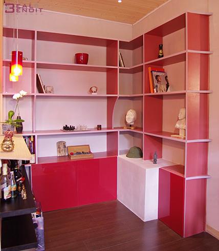 biblioth que design aux couleurs contemporaines r alis e sur mesure. Black Bedroom Furniture Sets. Home Design Ideas