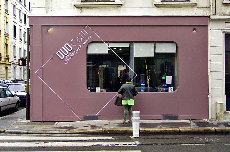 design d 39 espace et graphique d 39 un salon de coiffure saint etienne. Black Bedroom Furniture Sets. Home Design Ideas